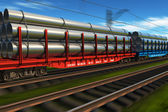 High speed freight train with metal pipes — Stock Photo