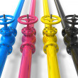 CMYK pipelines with valves — Stock Photo