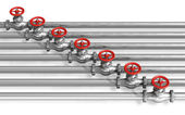 Pipeline with valves — Stock Photo