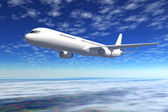 Passenger airliner flight in the blue sky — Stock Photo