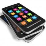 Set of touchscreen smartphones — Stock Photo