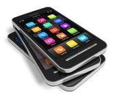 Reihe von touchscreen-smartphones — Stockfoto
