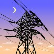 Stockvector : High voltage power line in sunset