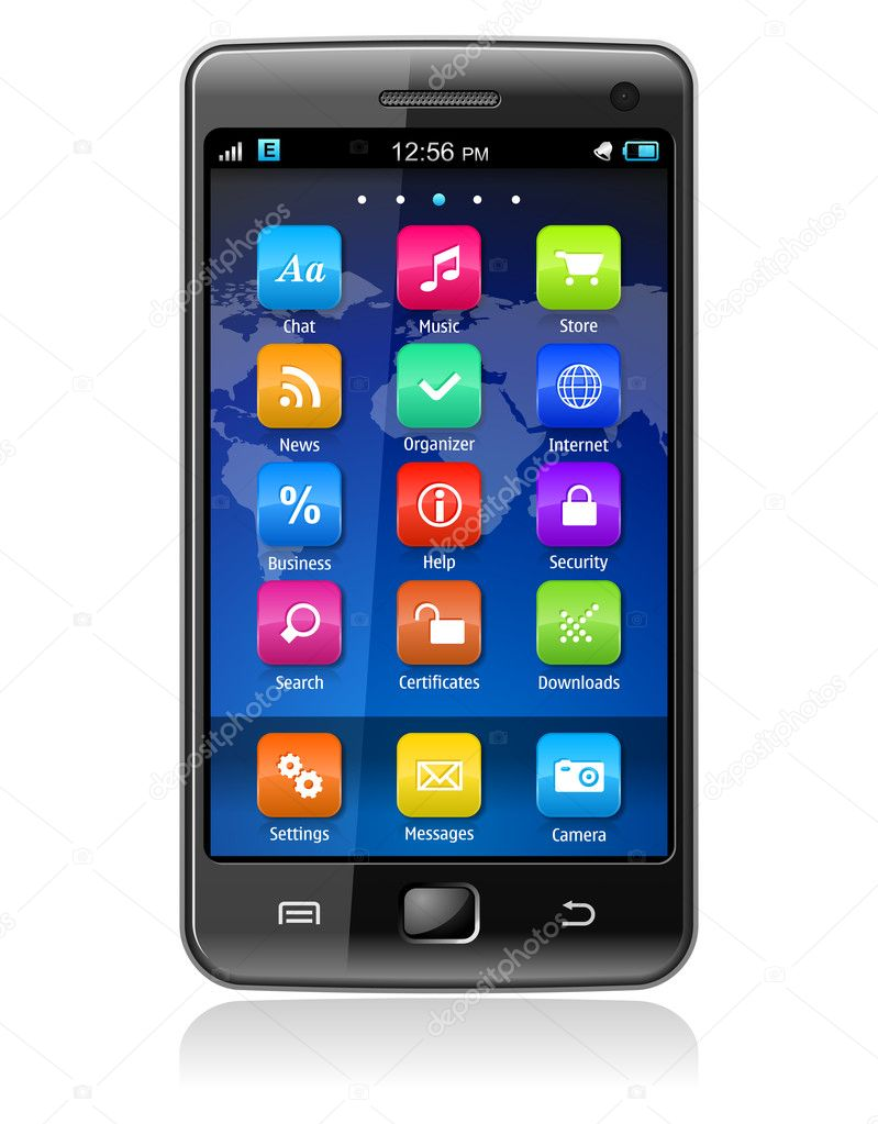 High detailed photorealistic vector illustration of touchscreen smartphone — Stock Vector #4943821
