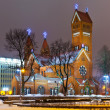 Ancient Christian church at night in Minsk, Belarus - Stock Photo