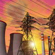 Power plant in sunset — Stock Photo