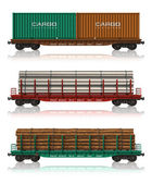 Set of freight railroad cars — Stok fotoğraf