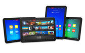 Set van tablet pc 's — Stockfoto