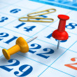 Pushpins and calendar — Stock Photo #5034607