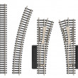 Set of miniature railroad track elements - Stock Photo