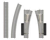 Set of miniature railroad track elements — Stock Photo