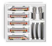 Miniatuur speelgoed spoorweg set — Stockfoto