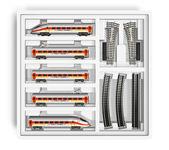 Miniature toy railroad set — Stock Photo