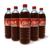 Ensemble de cola boissons dans des bouteilles en plastique — Photo