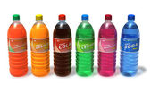 Set of refreshing drinks in plastic bottles — Stock Photo