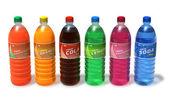 Set van verfrissende drankjes in plastic flessen — Stockfoto