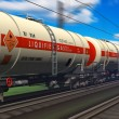 Freight train with gasoline tanker cars - Stock Photo