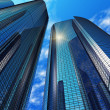 Modern blue reflective office buildings — Stok Fotoğraf #5221568