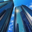 Modern blue reflective office buildings — Stok fotoğraf
