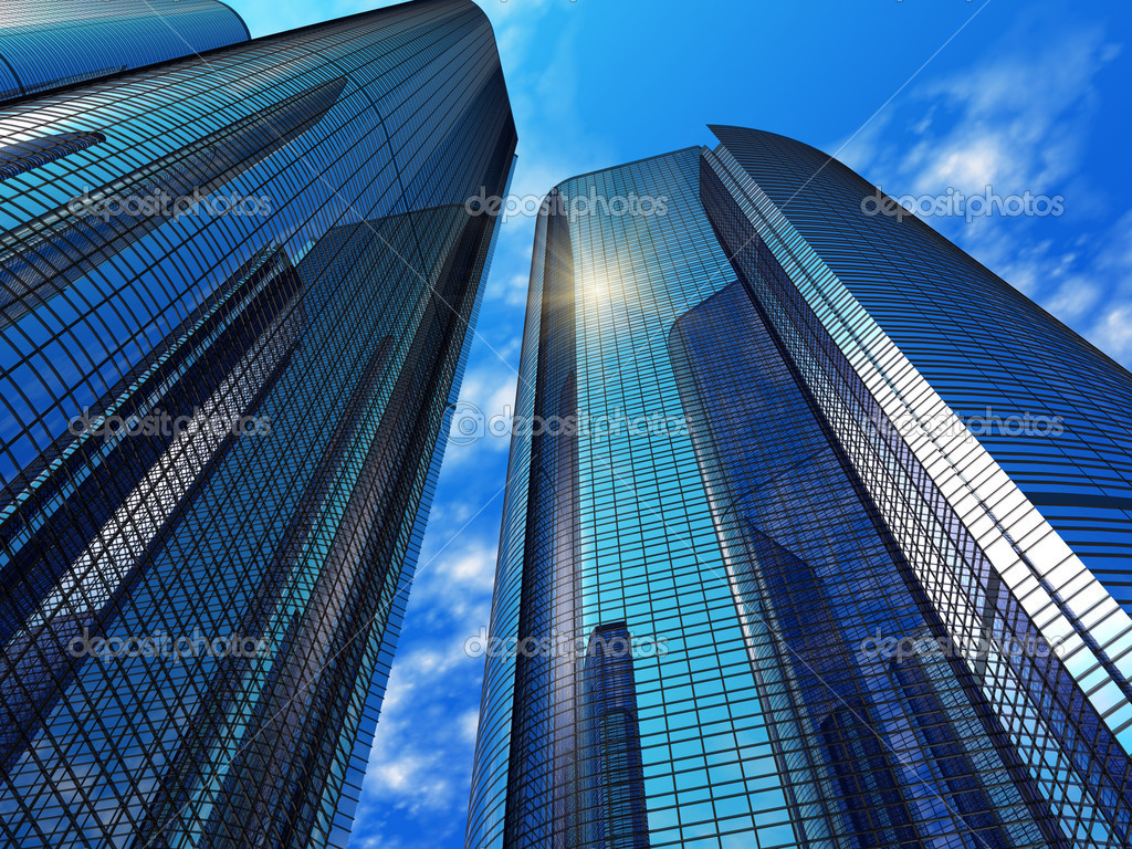 Modern blue reflective office buildings   Stock Photo #5221568