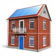 Stock Photo: House with solar batteries on roof