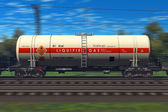 Freight train with gasoline tanker cars — Stok fotoğraf