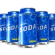 Set of refreshing soda drinks in metal cans — Stockfoto