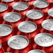 Foto de Stock  : Macro of metal cans with refreshing drinks