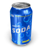 Refreshing soda drink in metal can — Stock Photo