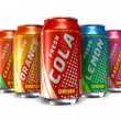 Set of refreshing soda drinks in metal cans — Stock Photo