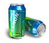 Lemon soda drinks in metal cans — Stock Photo