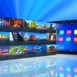 Streaming media on tablet PC — Stockfoto