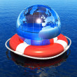 Royalty-Free Stock Photo: Earth globe in lifebuoy floating in water
