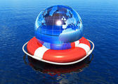 Earth globe in lifebuoy floating in water — Stock Photo