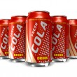 Set of cola drinks in metal cans — Stock Photo #5317362