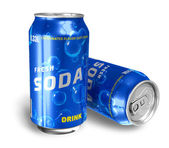 Refreshing soda drinks in metal cans — Stock Photo