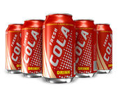 Set of cola drinks in metal cans — Stock Photo