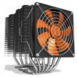 Powerful CPU cooler with heatpipes — Stock Photo