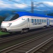 Modern high speed train with motion blur — Stock Photo #5352753