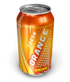 Orange soda drink in metal can — Stock Photo