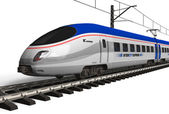 Modern high speed train isolated on white — Stock Photo