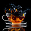 Burning tea — Stock Photo