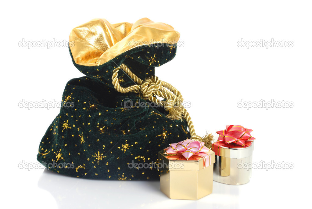 Christmas sack with golden boxes on white background  Stock Photo #4310841