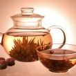 Glass teapot and cup - Stock Photo