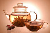 Glass teapot and cup — Stock Photo