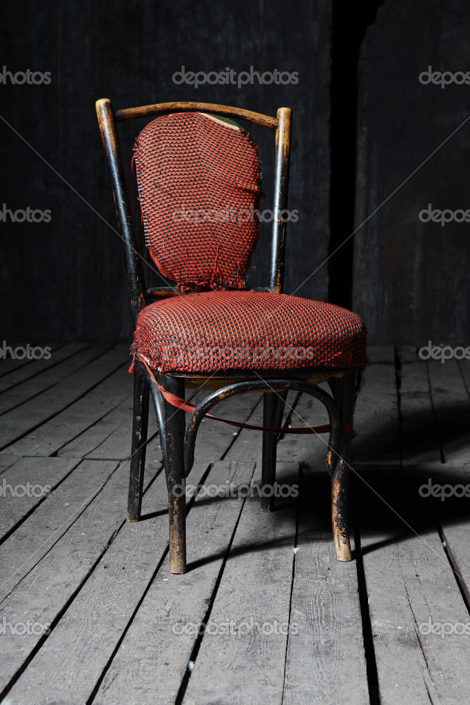 Old fashioned chair on wooden floor — Photo #4752650
