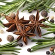 Stock Photo: Rosemary, peppercorn, cloves and anise