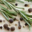 Stock Photo: Rosemary, peppercorn and cloves