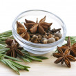 Bunch of rosemary and anise stars — Stock Photo
