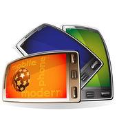 Modern mobile phones — Vector de stock